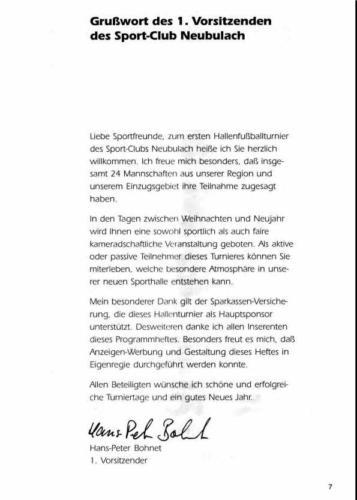 1994 Grusswort Vorstand H.P. Bohnet